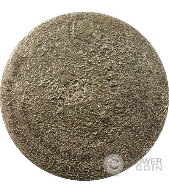 MOON Lunar Meteorite Moonstone Silver Coin 5$ Cook Islands 2009