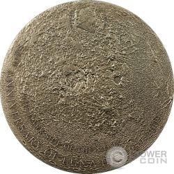 MOON Lunar Meteorite Moonstone Moneda Plata 5$ Cook Islands 2009
