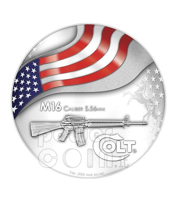 COLT M16 US Army Rifle Moneda Plata 2$ Mesa Grande 2010