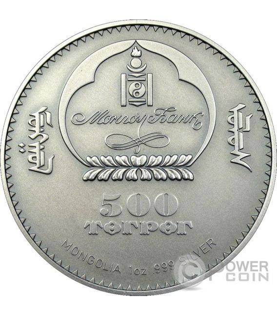 GULO GULO Wolverine COTY Silver Coin Swarovski 500 Togrog Mongolia 2007