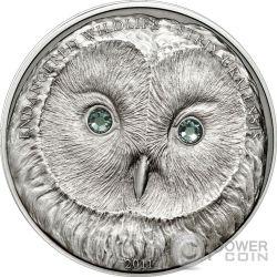 URAL OWL Wildlife Protection Moneda Plata Swarovski 500 Togrog Mongolia 2011