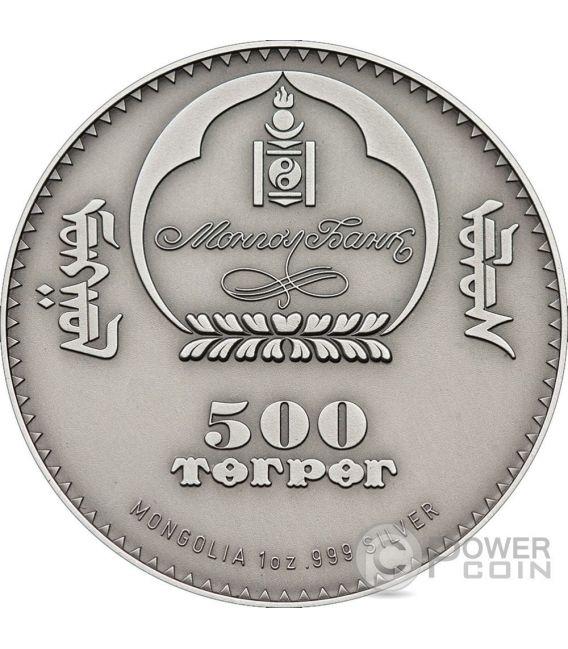LONG EARED HEDGEHOG Riccio Orecchie Lunghe Moneta Argento 500 Togrog Mongolia 2012