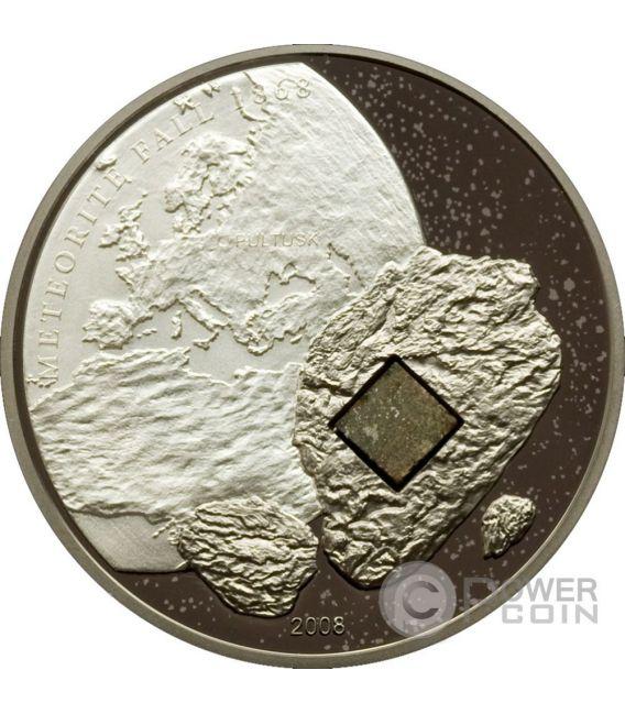 PULTUSK METEORITE Comet Moneda Plata 5$ Cook Islands 2008