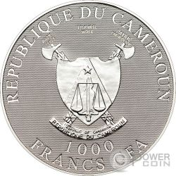 SHROUD OF TURIN Hologram Moneda Plata 1000 Francs Cameroon 2010