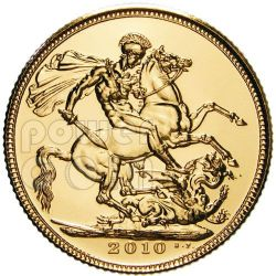 STERLINA ORO 1 Gold Sovereign Moneta Elisabetta II Royal Mint 2010