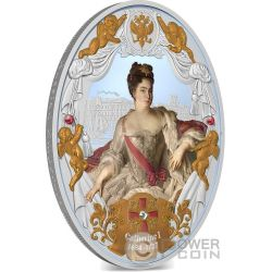 CATHERINE I Caterina Russian Emperors 2 Oz Moneta Argento 5$ Niue Island 2014