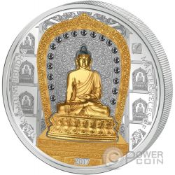 SHAKYAMUNI BUDDHA Masterpieces of Art 3 Oz Moneta Argento 20$ Oro 25$ Cook Islands 2017