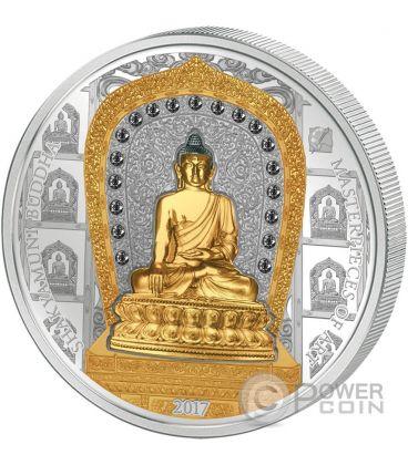 SHAKYAMUNI BUDDHA Masterpieces of Art 3 Oz Silver Coin 20$ Gold 25$ Cook Islands 2017