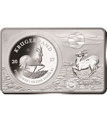 KRUGERRAND 50th Anniversary 1 Oz Silver Coin 2 Oz Bar South Africa 2017