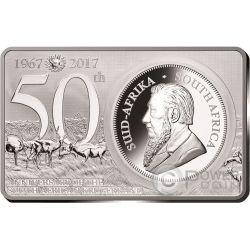 KRUGERRAND 50 Anniversario 1 Oz Moneta Argento 2 Oz Set 1 Rand Sud Africa 2017