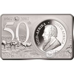 KRUGERRAND 50th Anniversary 1 Oz Silver Coin 2 Oz Set 1 Rand South Africa 2017