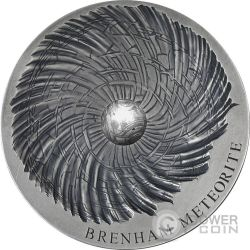 BRENHAM Meteorite Art 5 Oz Moneda Plata 5000 Francos Chad 2016