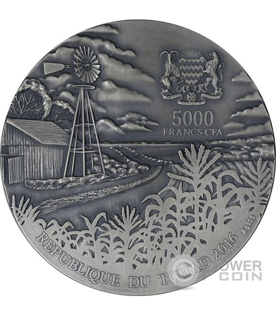 BRENHAM Meteorite Art 5 Oz Silver Coin 5000 Francs Chad 2016