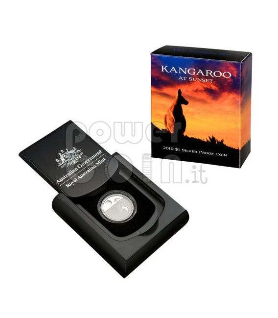 KANGAROO AT SUNSET Moneda Plata Proof 1$ Australia 2010