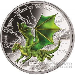 GREEN DRAGON Drago Verde Force of Weather 3 Oz Moneta Argento 5$ Fiji 2017