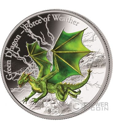 GREEN DRAGON Force of Weather 3 Oz Silver Coin 5$ Fiji 2017