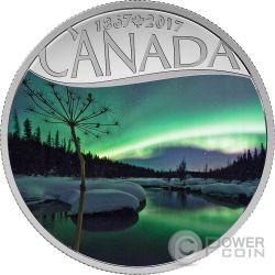 AURORA BOREALIS AT MCINTYRE CREEK Torrente 150 Anniversario Moneta Argento 10$ Canada 2017