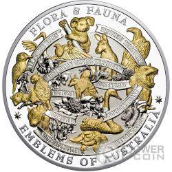 FLORA AND FAUNA Emblems of Australia 5 Oz Silver Coin 10$ Niue 2017