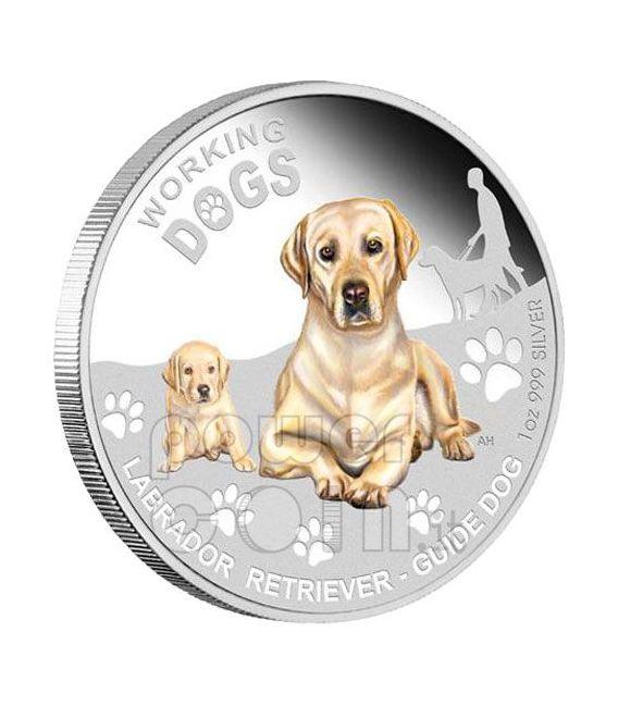 LABRADOR RETRIEVER Working Dogs Silber Münze 1$ Tuvalu 2010