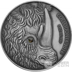 WOOLLY RHINOCEROS Rinoceronte Lanudo Madre Efecto Ojo Real 1 Oz Moneda Plata 1000 Francos Burkina Faso 2016