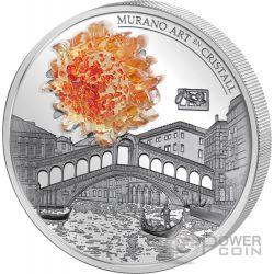 MURANO ART EN CRISTALL 2 Oz Silber Münze 15 Dinars Andorra 2014