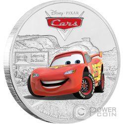 LIGHTNING MCQUEEN Cars Disney 1 Oz Silber Münze 2$ Niue 2017