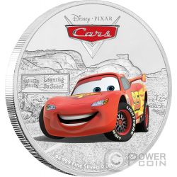 LIGHTNING MCQUEEN Saetta Cars Disney 1 Oz Moneta Argento 2$ Niue 2017
