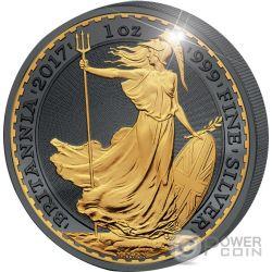 BRITANNIA 30 Anniversario Golden Enigma Premium Edition 1 Oz Moneta Argento 2£ Regno Unito 2017