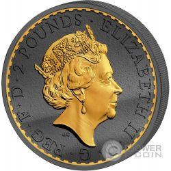 BRITANNIA 30 Aniversario Golden Enigma Premium Edition 1 Oz Moneda Plata 2£ Regno Unito 2017