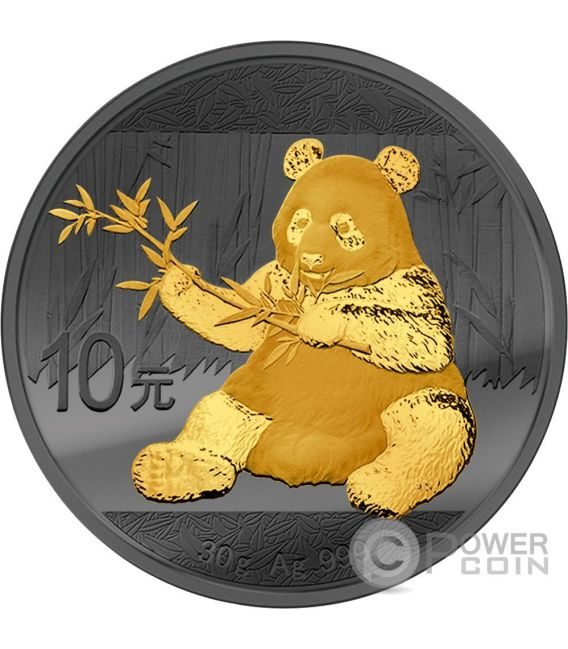 PANDA Golden Enigma Rutenio Moneda Plata 10 Yuan China 2017