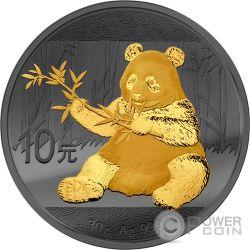 PANDA Golden Enigma Ruthenium Серебро Монета 10 Юаней Китай 2017