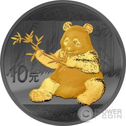 PANDA Golden Enigma Ruthenium Silver Coin 10 Yuan China 2017