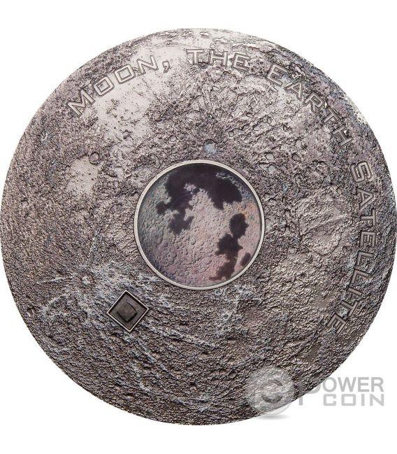 MOON EARTH SATELLITE Meteorites 3 Oz Silver Coin 20$ Cook Islands 2017