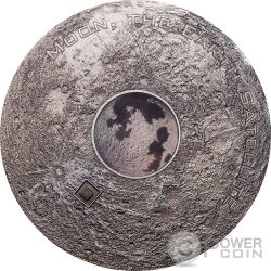 MOON EARTH SATELLITE Luna Terra Meteorites 3 Oz Moneta Argento 20$ Cook Islands 2017
