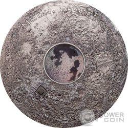 MOON EARTH SATELLITE Luna Tierra Meteorites 3 Oz Moneda Plata 20$ Cook Islands 2017
