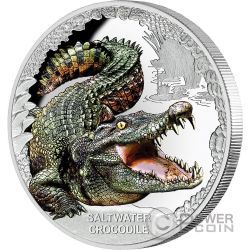 SALTWATER CROCODILE Coccodrillo Acqua Salata Remarkable Reptiles 1 Oz Moneta Argento 1$ Tuvalu 2017