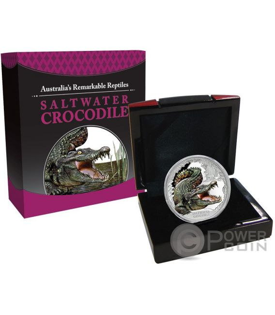 SALTWATER CROCODILE Remarkable Reptiles 1 Oz Silver Coin 1$ Tuvalu 2017