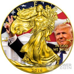 TRUMP Donald Presidente Walking Liberty 1 Oz Moneta Argento 1$ US Mint 2016