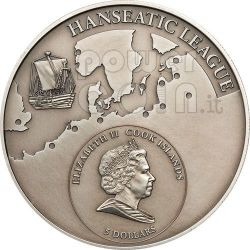 GDANSK Hanseatic League Hansa Silver Coin 5$ Cook Islands 2010