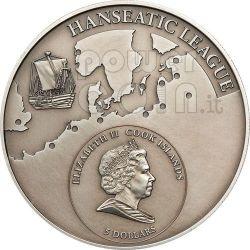 GDANSK Lega Anseatica Danzica Moneta Argento 5$ Cook Islands 2010