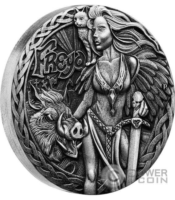 FREYA Freyja Norse Goddesses 2 Oz Silver Coin 2$ Tuvalu 2017