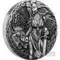 FREYA Freyja Norse Goddesses 2 Oz Moneda Plata 2$ Tuvalu 2017