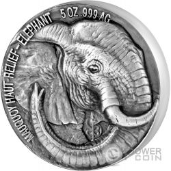 ELEPHANT Elefante Big Five Mauquoy 5 Oz Moneda Plata 5000 Francs Ivory Coast 2017