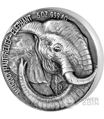 ELEPHANT Big Five Mauquoy 5 Oz Silver Coin 5000 Francs Ivory Coast 2017