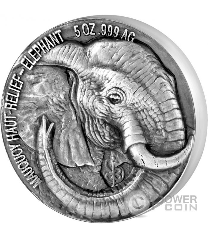 Elephant Big Five Mauquoy 5 Oz Silver Coin 5000 Francs