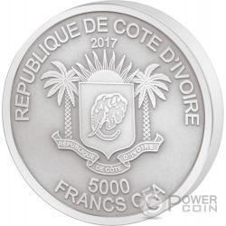 ELEPHANT Big Five Mauquoy 5 Oz Silber Münze 5000 Francs Ivory Coast 2017