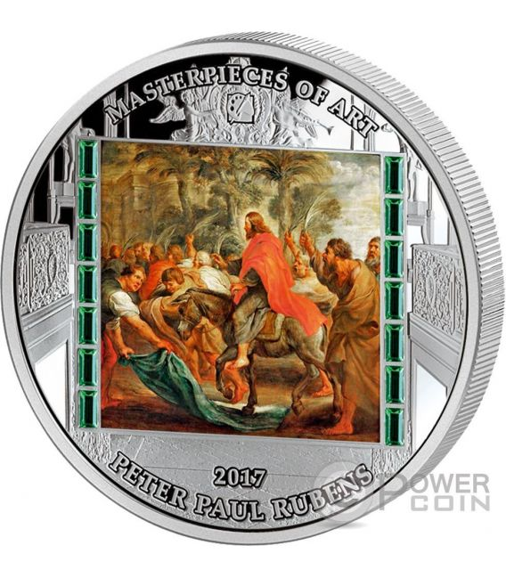 CHRIST ENTRY INTO JERUSALEM Masterpieces of Art Peter Paul Rubens Easter Edition 3 Oz Silber Münze 20$ Cook Islands 2017