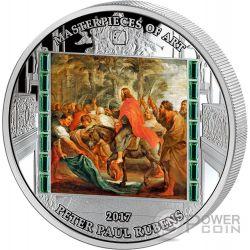 CHRIST ENTRY INTO JERUSALEM Jesus Jerusalen Masterpieces of Art Peter Paul Rubens 3 Oz Moneda Plata 20$ Cook Islands 2017