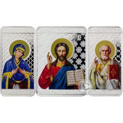 MOTHER OF GOD JESUS ST NICHOLAS Triptych Set 3 Silver Coins 10 Denars North Macedonia 2017