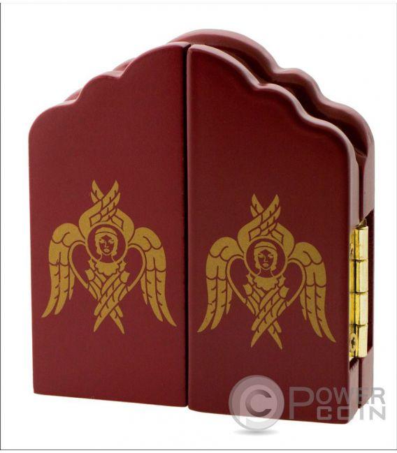 MOTHER OF GOD JESUS ST NICHOLAS Triptych Set 3 Monete Argento 10 Denars Macedonia 2017